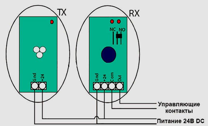 Подключение фотоэлементов - типовая схема