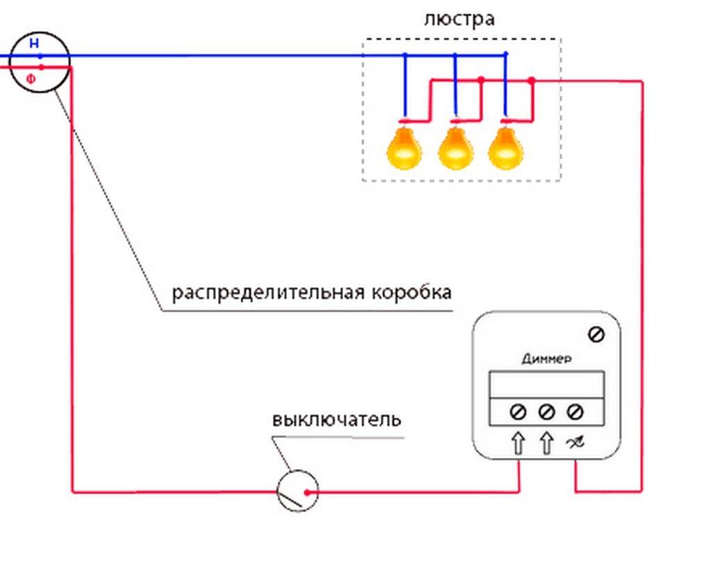 Схема установки и подключения диммера