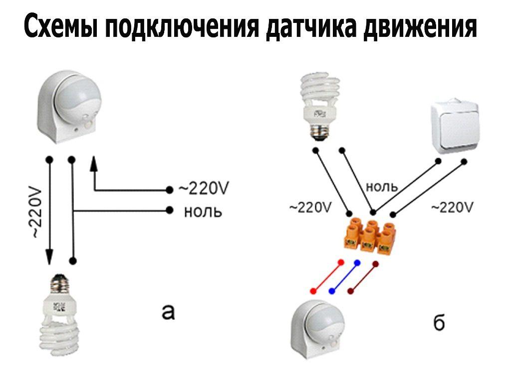 Описание схемы подключения датчика движения
