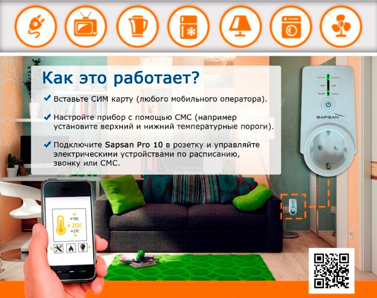 Умная GSM розетка Sapsan PRO 10