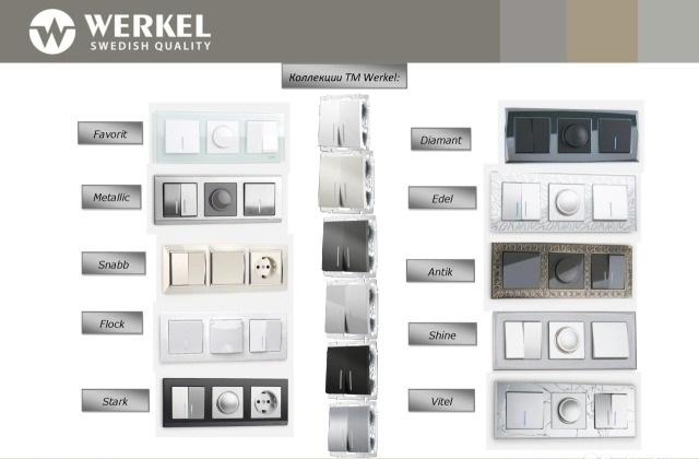 Разнообразие розеток и выключателей Werkel
